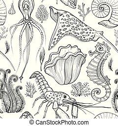 levend, organisms., seamless, hand, black , model, getrokken, deepwater, witte