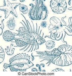 levend, schets, organismen, model, seamless, deepwater