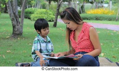 lezen, jongen, aziaat, leren, hoe