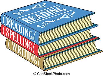 lezende , boekjes , spelling, schrijvende