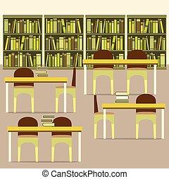 lezende , library., lege, zetels