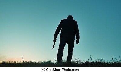 lichaam, bandiet, zijn, silhouette, tonen, gevaarlijk, hand., moordenaar, bovenkant, jas, levensstijl, mes, verdoezelen, thug, knife., schaduw, revers, verschrikking, kap, man