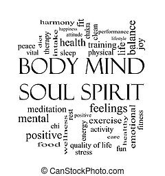 lichaam, concept, woord, verstand, ziel, black , witte , geest, wolk