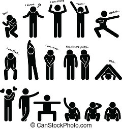 lichaam, man, mensen, taal, houding