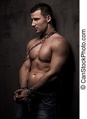 lichaam, zijn, op, goed, jonge, bouwen, model, mannelijke , kettingen