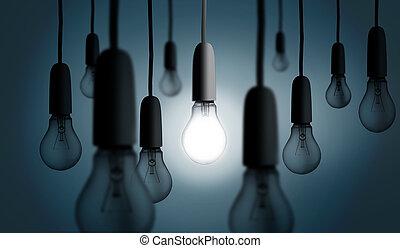 licht, een, lit, bol, op