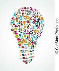 licht, eps10, iconen, media, idee, vrijstaand, sociaal, bol, file.