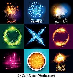 licht, vector, effecte, verzameling