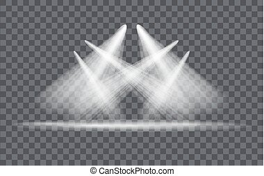 lichteffect, schijnwerper, vector, achtergrond, transparant