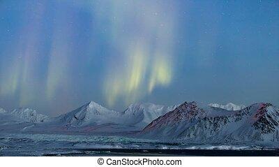 lichten, arctisch, landscape, noordelijk