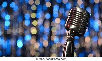 lichten, closeup, achtergrond, microfoon, retro, vaag