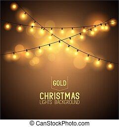 lichten, gloeiend, warme, kerstmis
