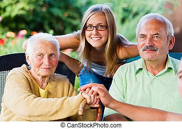 lief, dame, gezin, bejaarden, bezoeken