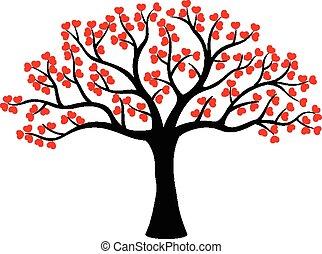 liefde, boompje, gemaakt, spotprent, stylized