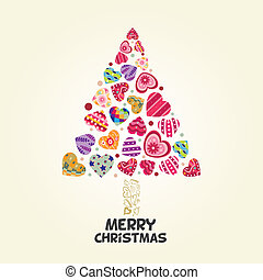 liefde, boompje, kerstmis, hart