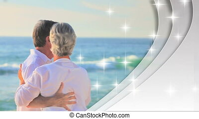 liefde, gepensioneerd, montage, stellen