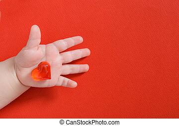 liefde, gezin, concept, heart., kind, holdingsglas, gezondheid