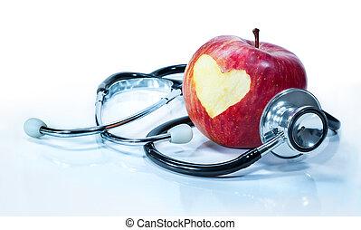 liefde, -, gezondheid, appel, concept