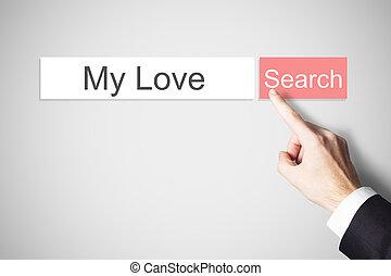 liefde, knoop het duwen, vinger, websearch, mijn