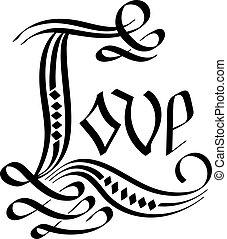 liefde, vector, lettering., hand