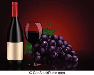 life:, nog, rode wijn, druiven, fles, wijntje, perfect, glas