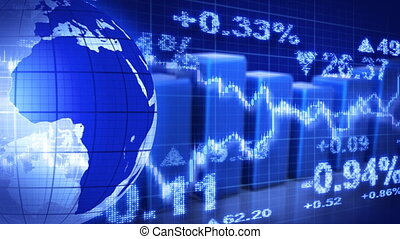 liggen, blauwe bol, grafieken, markt