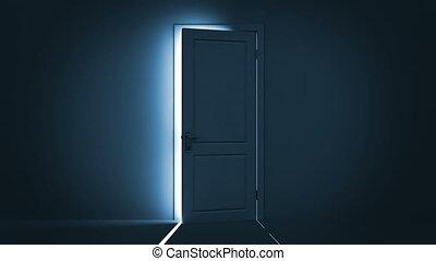 light., helder, deur, opening
