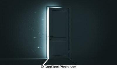 light., hemel, deur, opening