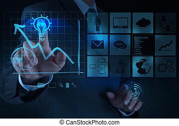 lightbulb, concept, verlekkeert, zakelijk, oplossing, hand, computer, zakenman, interface, nieuw