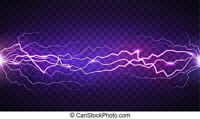 lightning, vector, realistisch, vrijstaand, achtergrond, transparant, donker