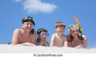 ligt, zand, zwemmers, gezin