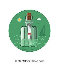 lijn, boodschap, pictogram, kust, kunst, fles