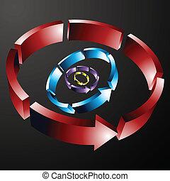 lijn, circulaire, richtingwijzer, verbruid