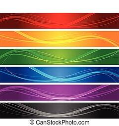 lijn, golvend, banieren, kleurrijke