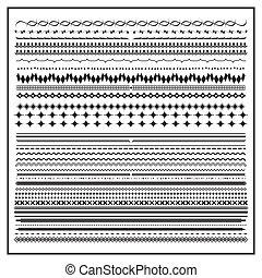 lijn, grens, set, element, ontwerp, ouderwetse