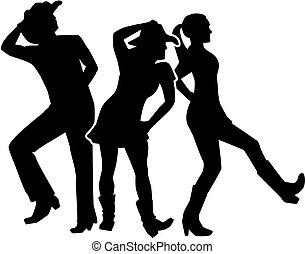 lijn, groep, dans