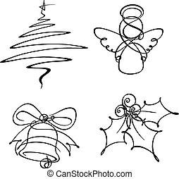 lijn, vier, enkel, kerstmis, iconen