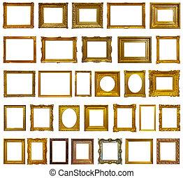 lijstjes, afbeelding, set, goud, 30