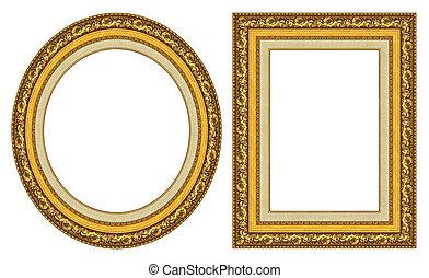lijstjes, goud, afbeelding