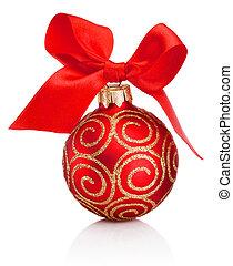 lint, achtergrond, rood wit, vrijstaand, boog, bauble van kerstmis, versiering