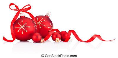 lint, kerst baubles, rood wit, achtergrond, versiering, vrijstaand, boog