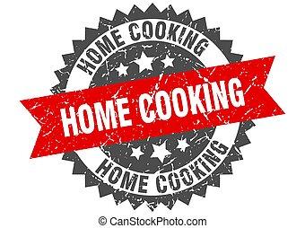 lint, meldingsbord, het koken, stamp., grunge, thuis, ronde