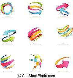 linten, abstract, pijl, iconen