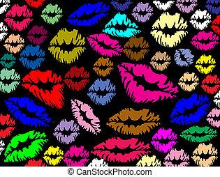 lippen, afdrukken, kleurrijke