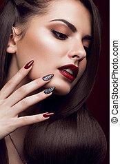 lippen, meisje, manicure, rood