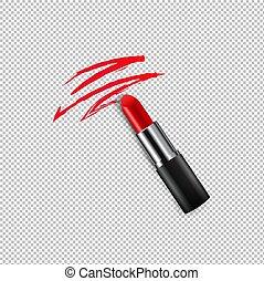 lippenstift, vrouwlijk, transparant, achtergrond, rood