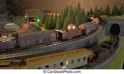 locomotieven, railroad., stoom, model, rennende