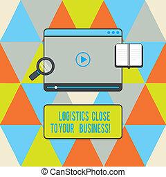 logistiek, het tonen, downloaden, jouw, tablet, vervoer, tekst, bedrijf, middelen, starten, business., space., meldingsbord, speler, videofoto, conceptueel, afsluiten, glas, vergroten