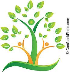 logo, abstract, boompje, mensen