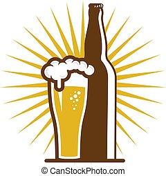 logo, bier, ontwerp, fles, pictogram